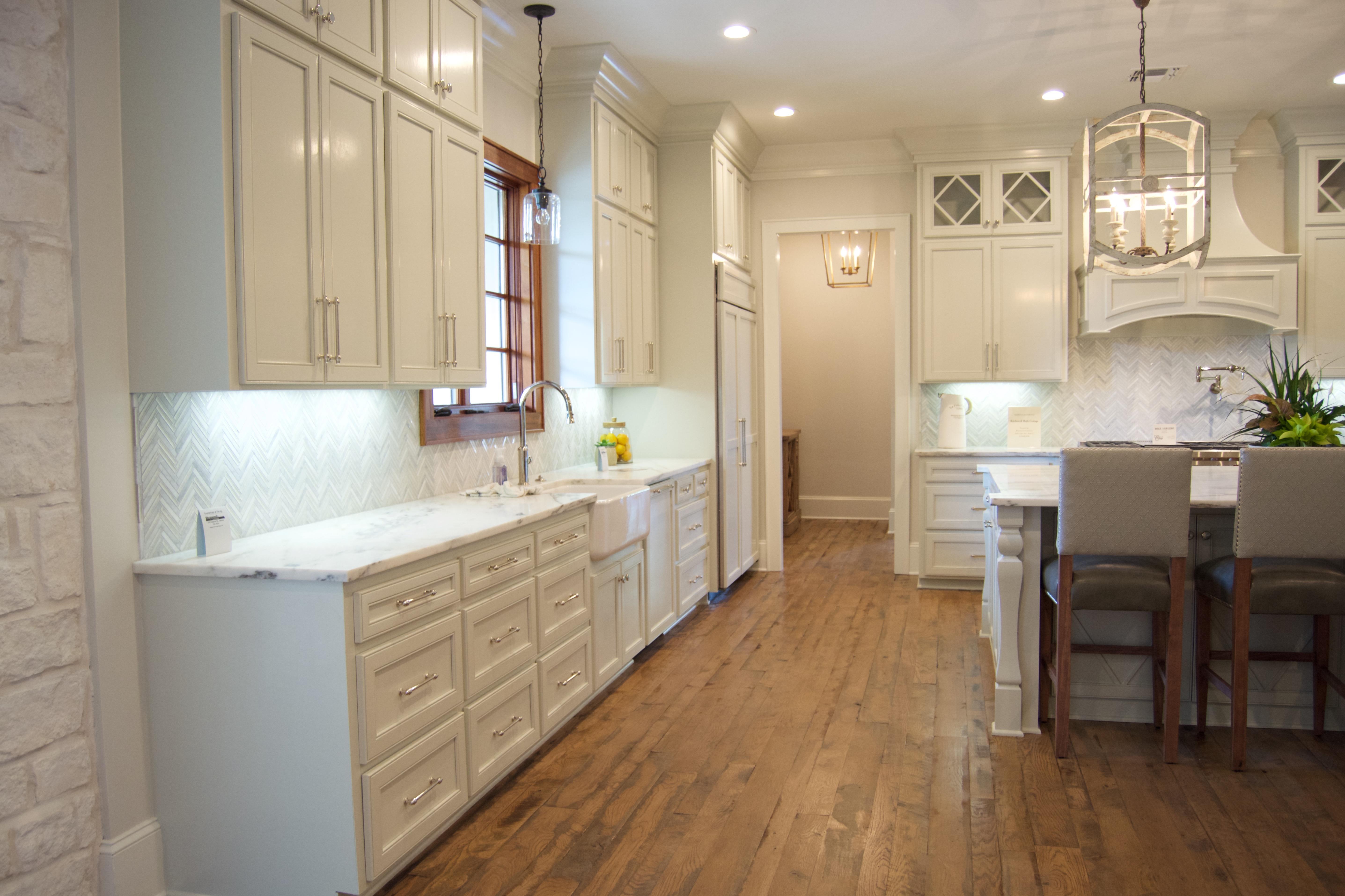 White kitchen reclaimed wood floors