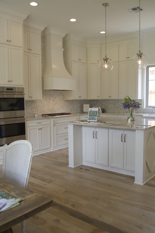 White and marble kitchen island detail design