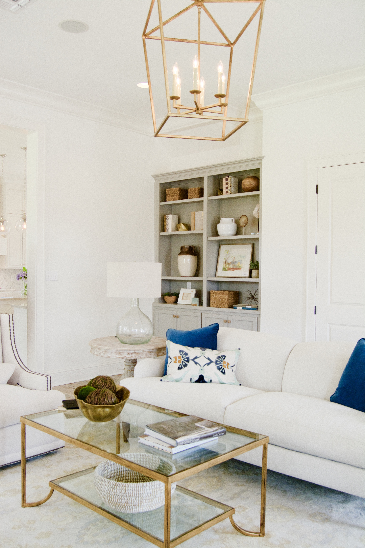White, gray & blue living room