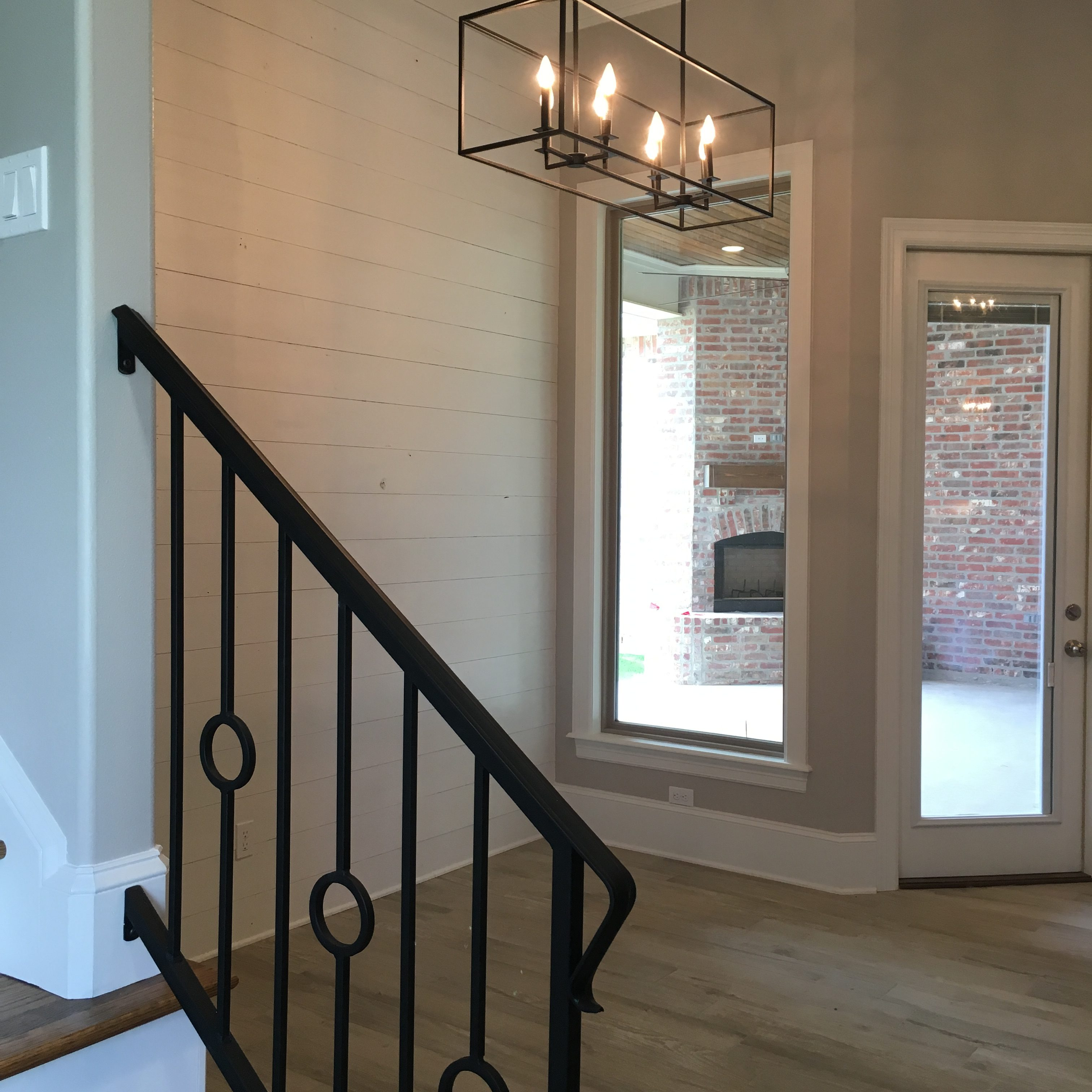 Shiplap accent wall in dining nook