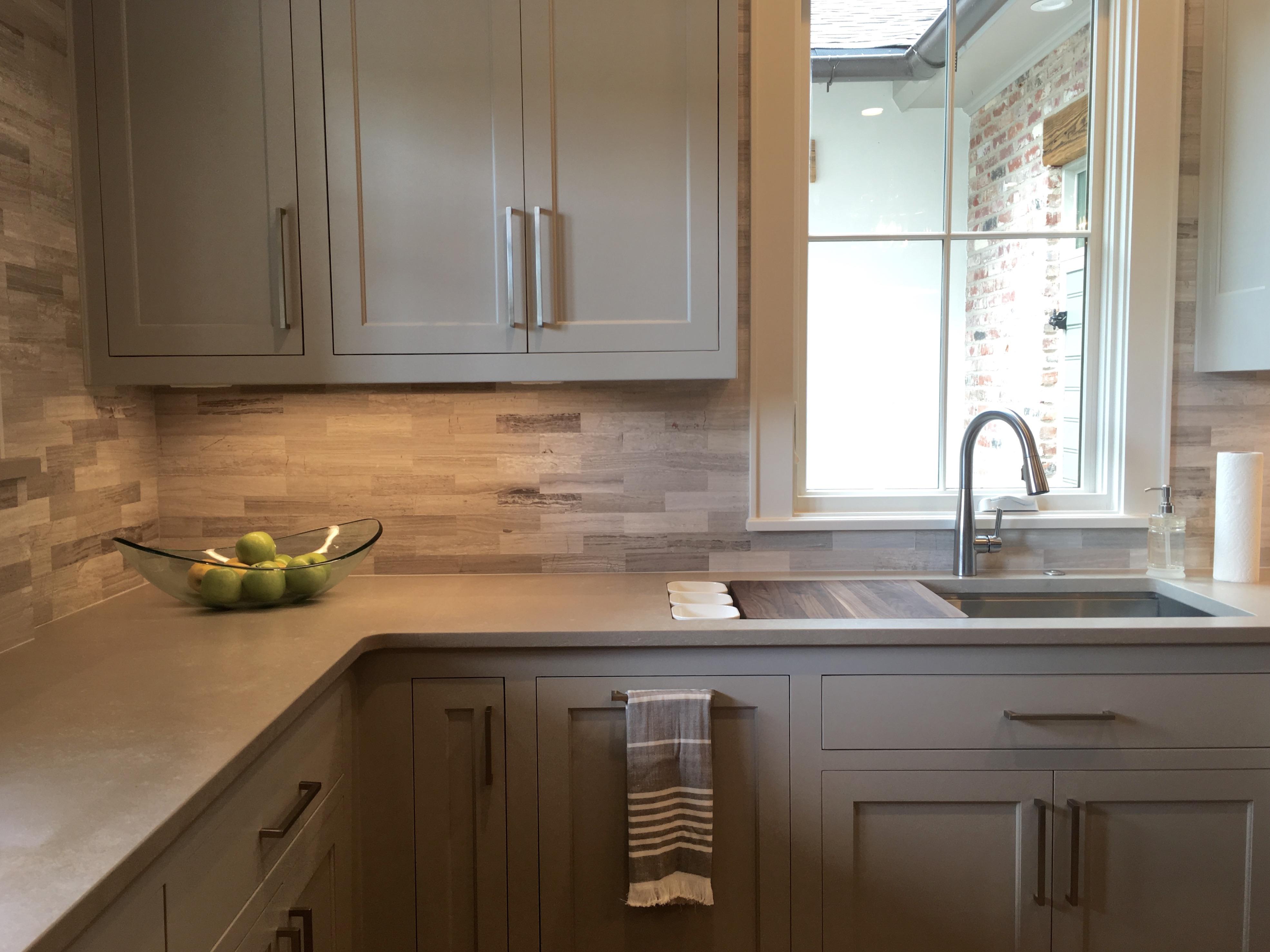Gray kitchen cabinets valentino marble backsplash