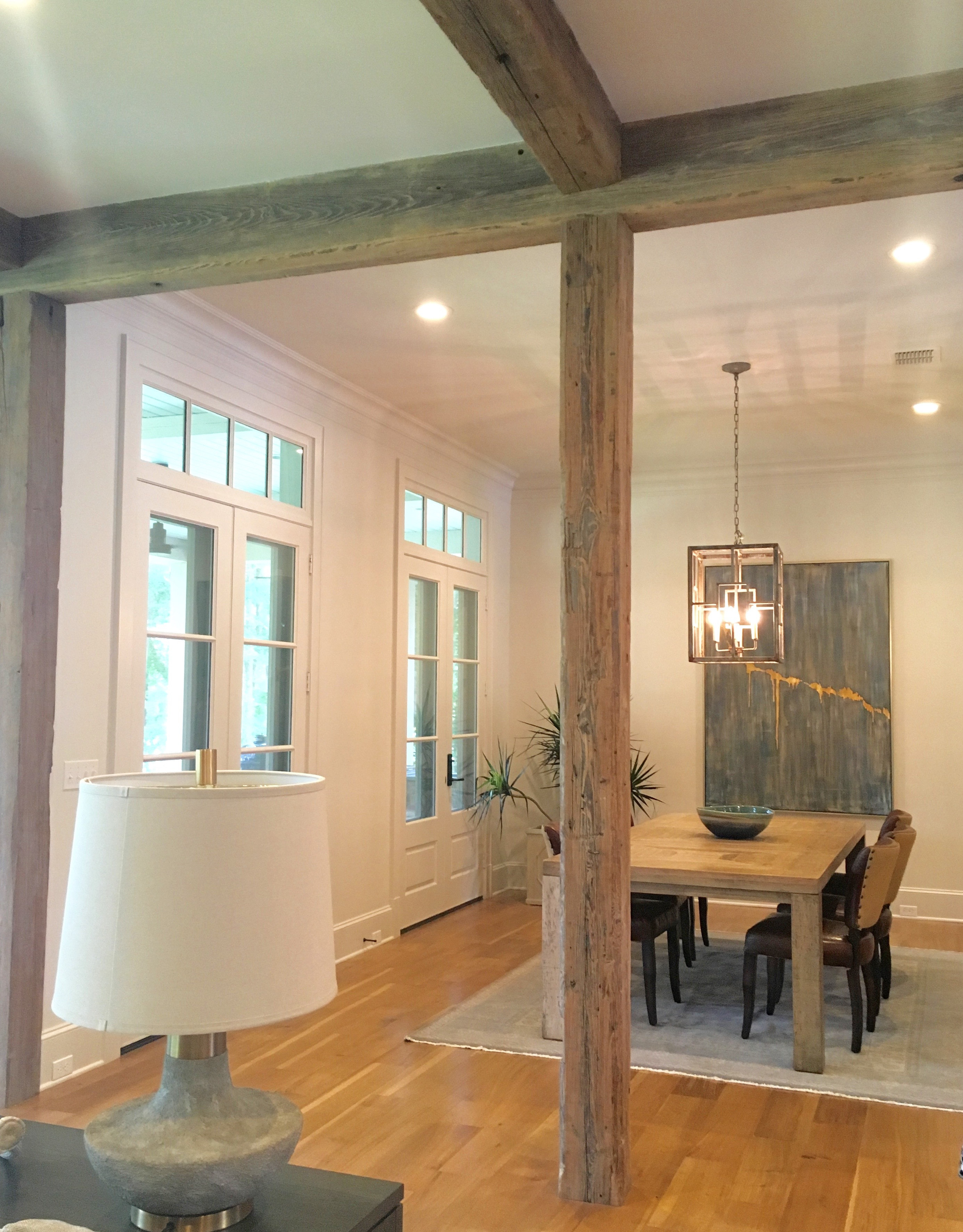 Wood beams framed dining room