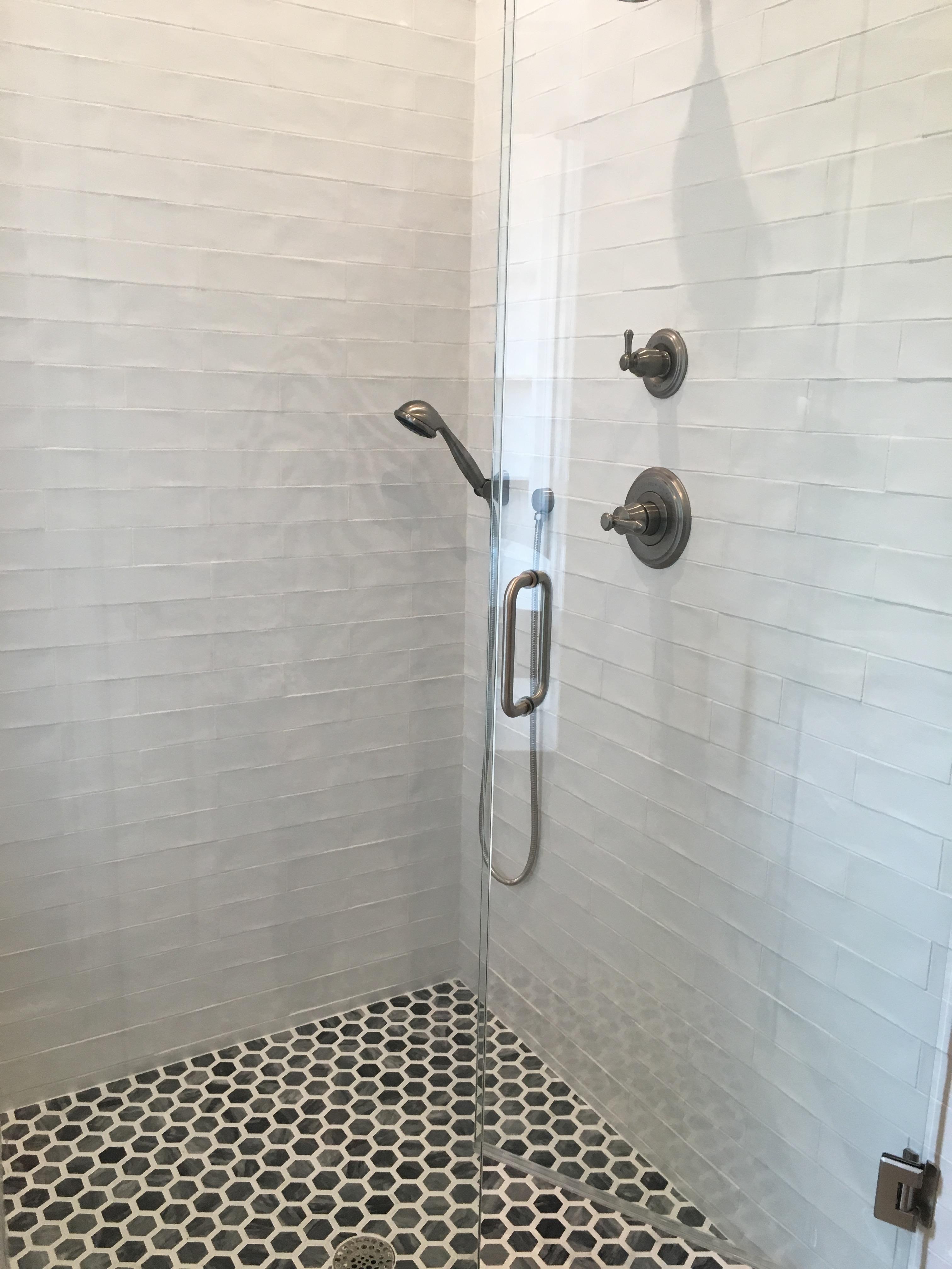 hand glazed white subway tile mosaic marble shower floor