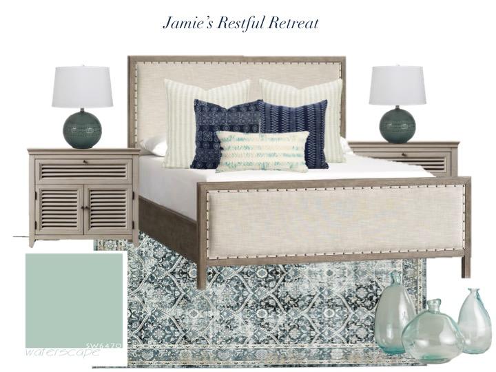 Bedroom Mood board aqua, navy, beige, upholstered bed, beach