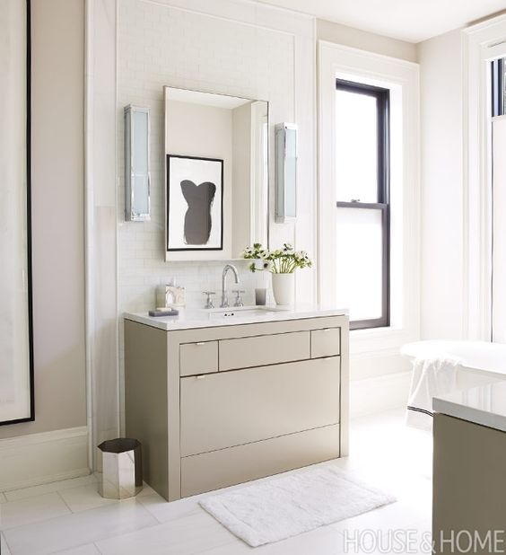 Stunning Modern bathroom taupe vanity