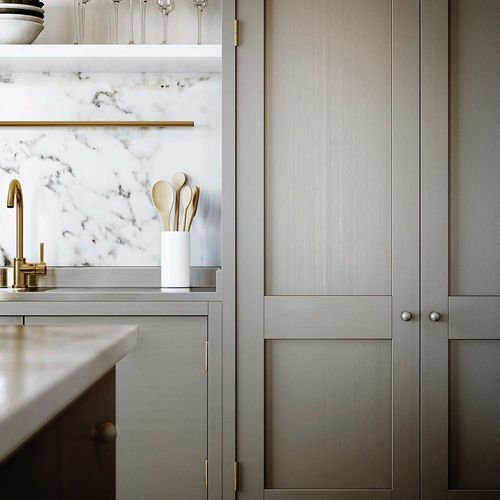Taupe with woodgrain pantry