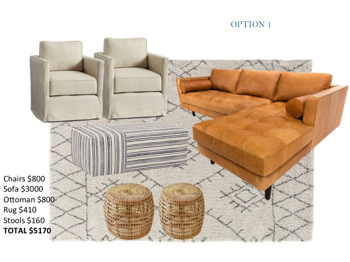 Leather sectional, upholstered ottoman, rattan stools, acrylic coffee table, swivel linen chairs
