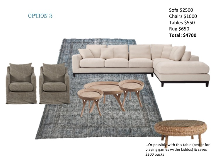 Oatmeal sectional, worn look swivel chairs, antique oushak rug, wooden coffee table