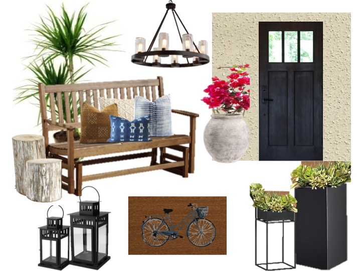 Black Blue and Beige front porch, charcoal, planters porch decor