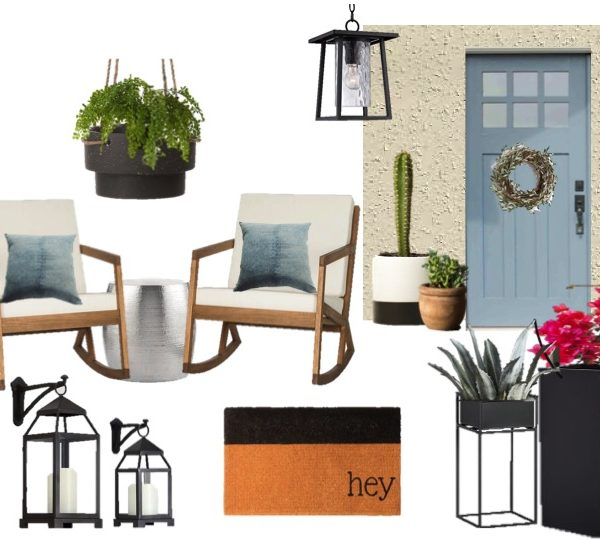 Front Porch Update: Black, Blue & Beige