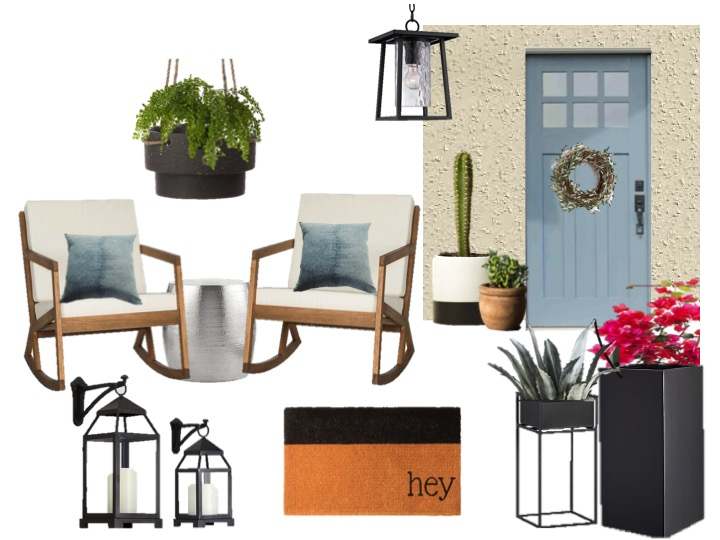 Blue and charcoal black front porch design decorating