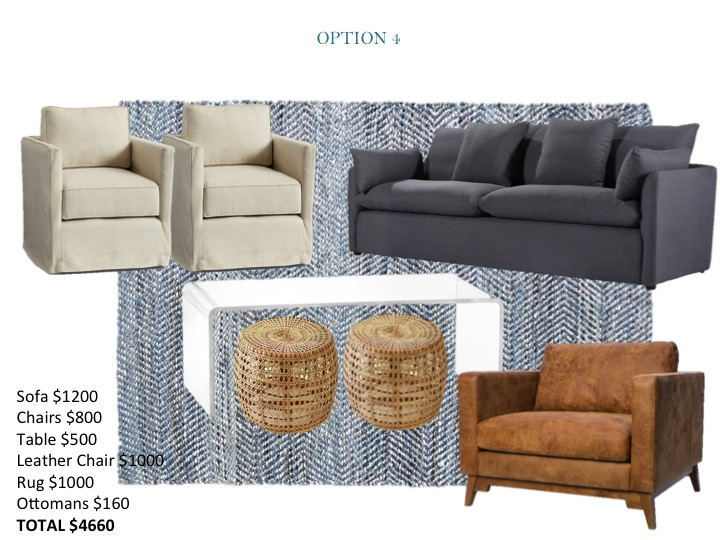 Linen swivel, blue charcoal capsule sofa, leather chair, rattan ottomans, acrylic coffee table