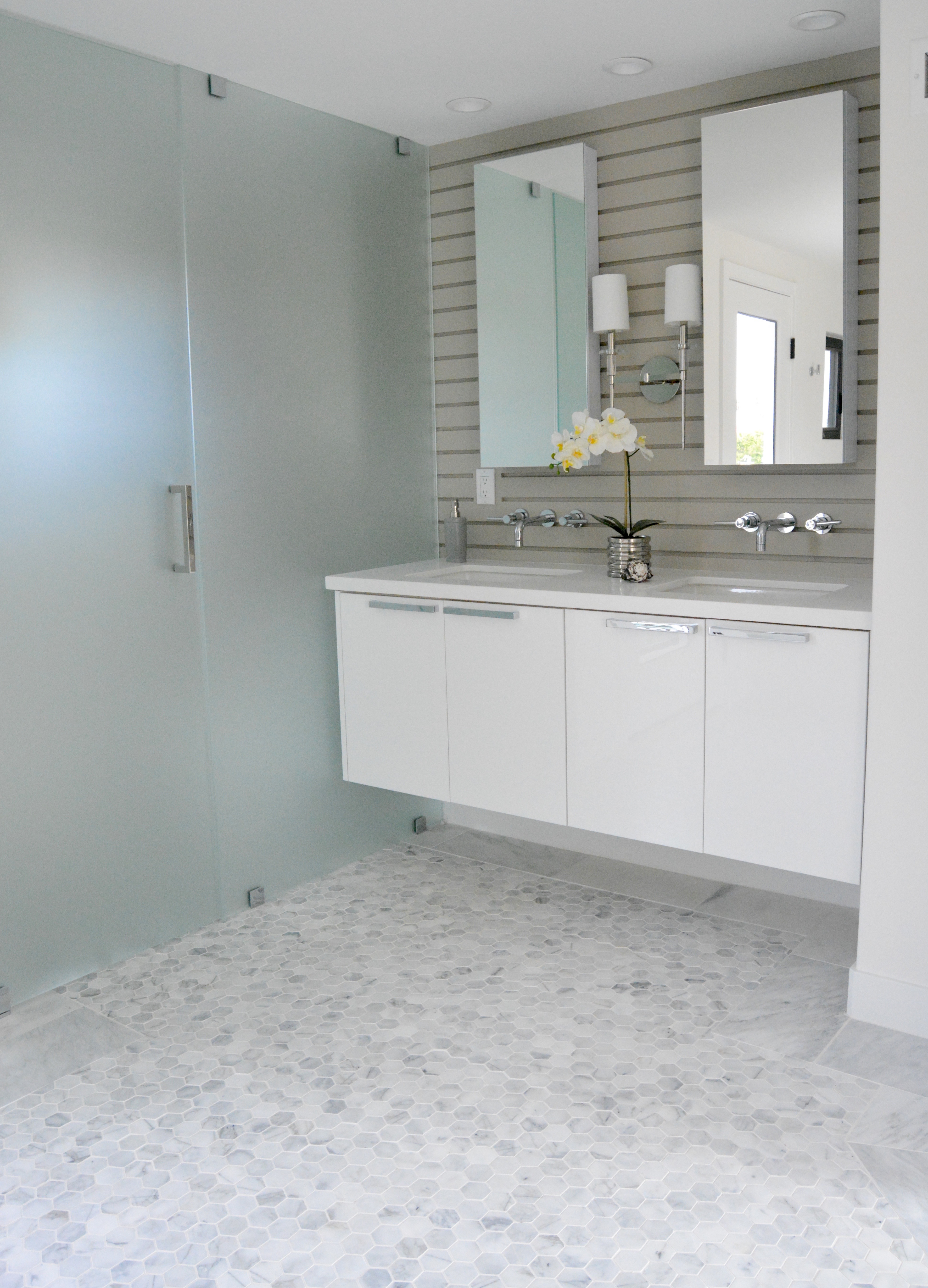 Dana Point fish and arrow interiors master bath modern white gray