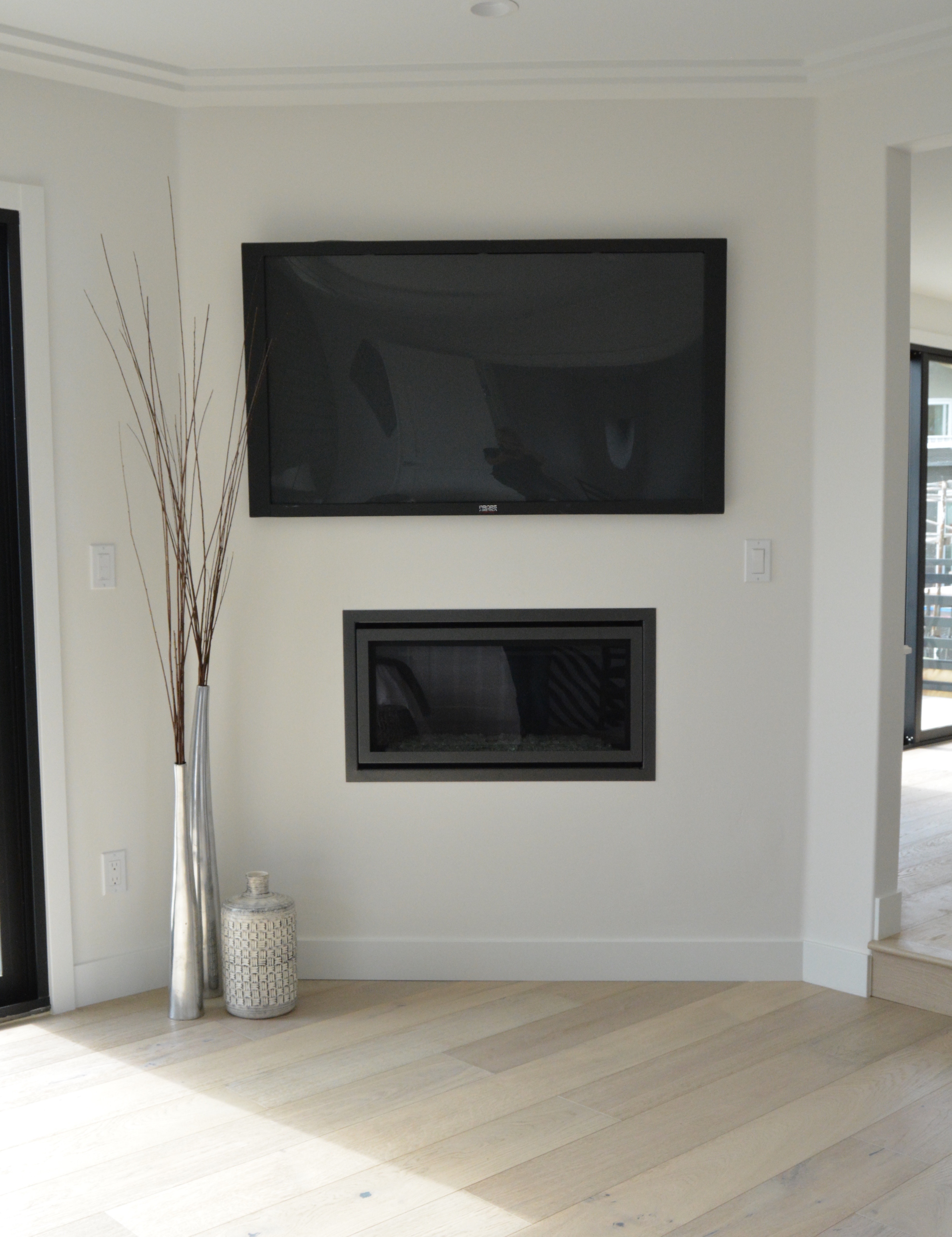 Fireplace flush wall fish and arrow interiors
