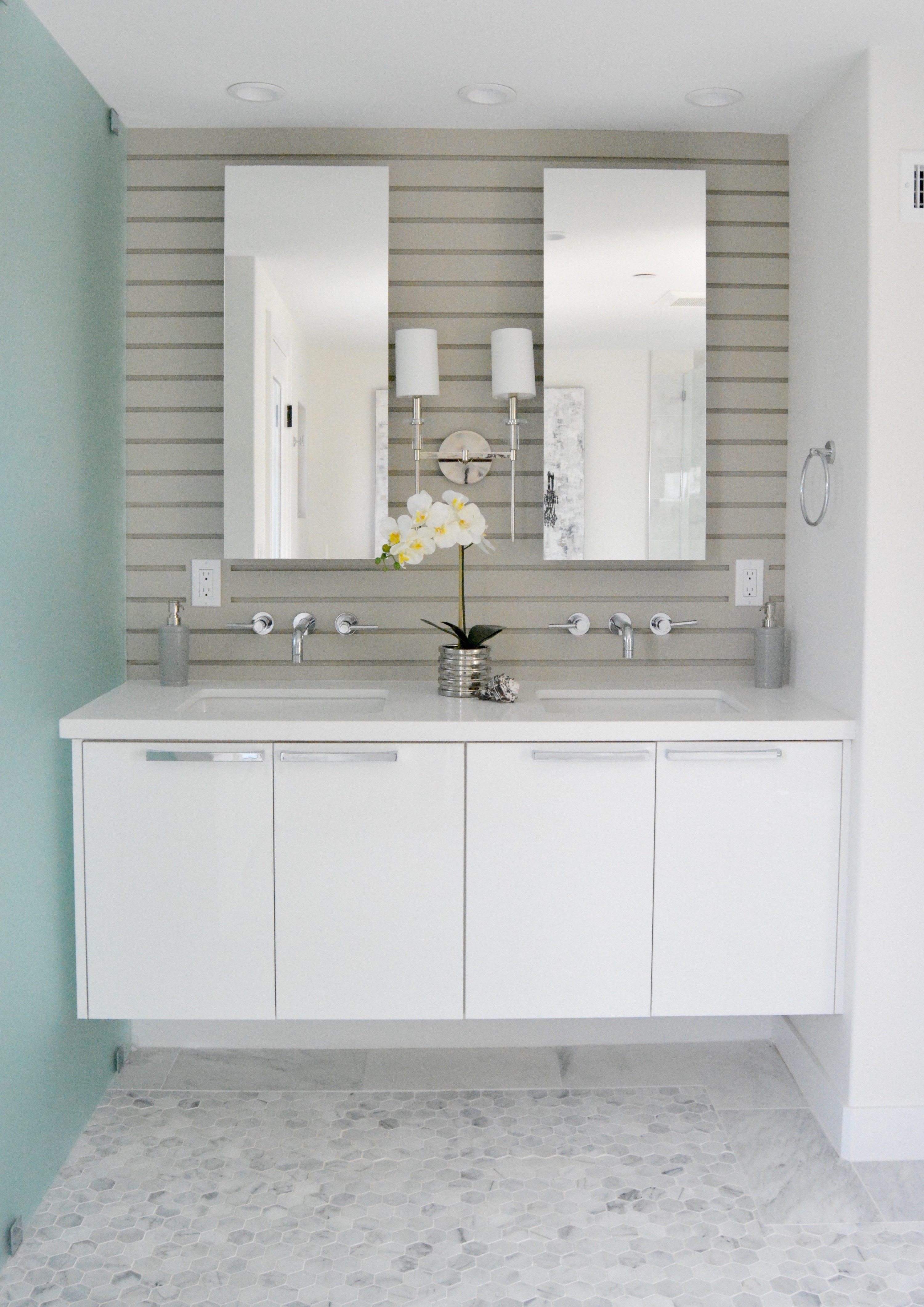 Modern white floating vanity marble gray shiplap