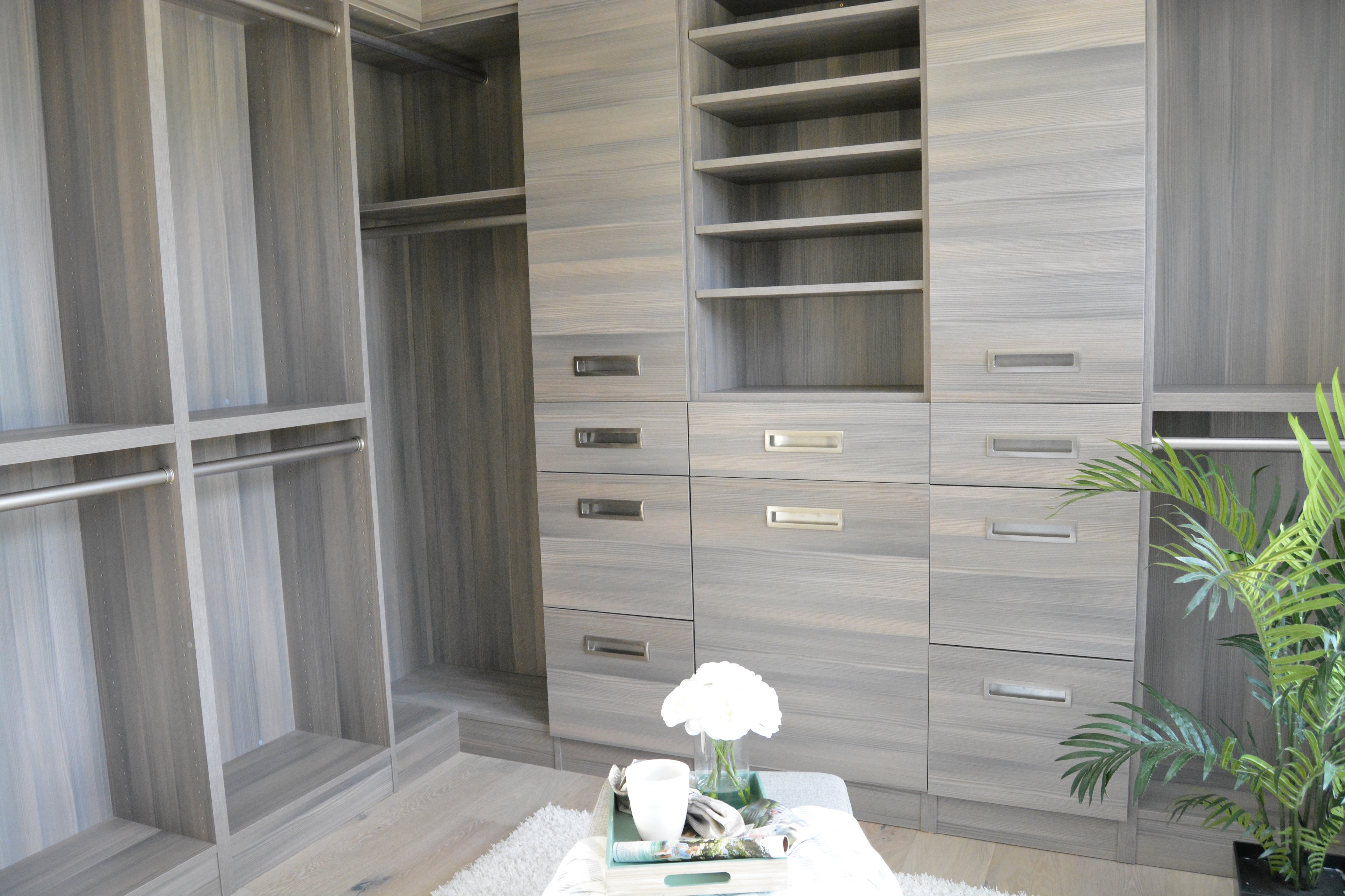 Walk In Closet Built Ins Hardwood Floors Gray Flat Panel